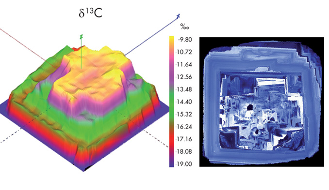 Carbon isotopes in diamond mapped with LG SIMS