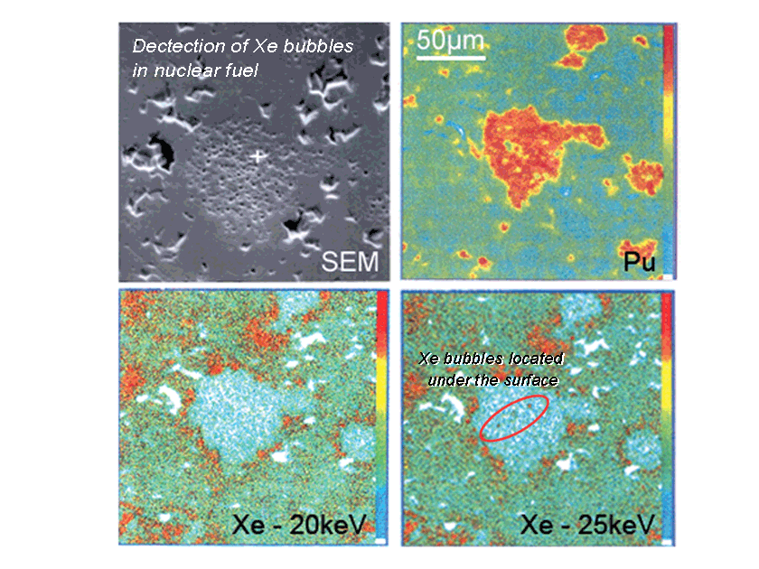 Detection of Xe bubbles in nuclear fuel with Skaphia Shielded EPMA